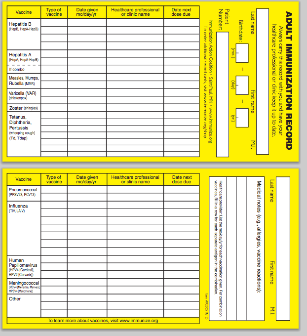Printable Immunization Card + CDC Chart of Recommended Ages To ...