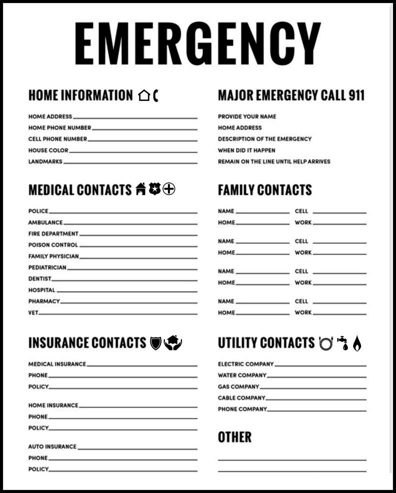 Printable Emergency Numbers