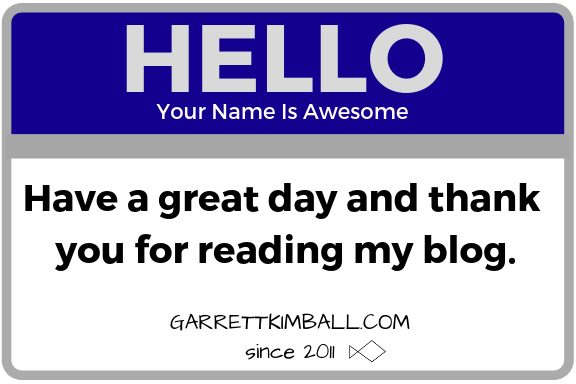Have a great day and thank you for reading my blog.