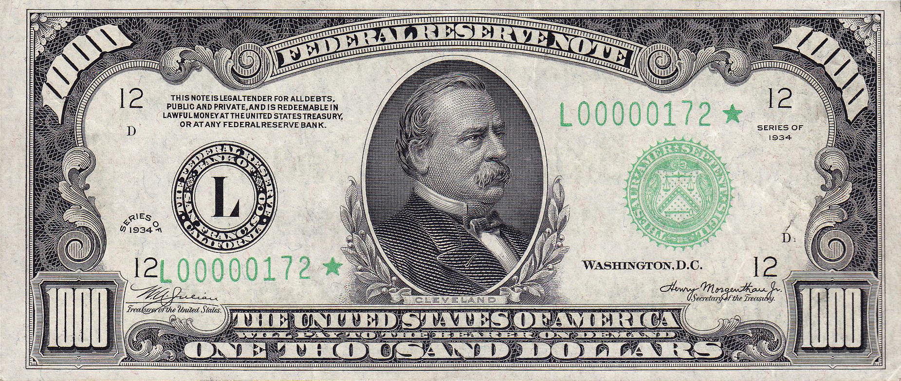 This image has an empty alt attribute; its file name is 1000_usd_note_series_of_1934_obverse.jpg